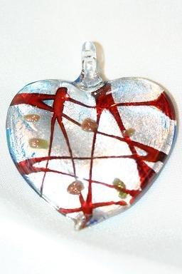 GLASS SILVER FOIL HEART PENDANT