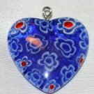 BLUE GLASS HEART PUFFED PENDANT