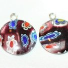 2 PATCHWORK GLASS FOCAL BEADS