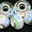 5 EUROPEAN GLASS CHARM BEADS - WHITE WITH BLUE FLOWERS