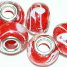 5 EUROPEAN GLASS CHARM BEADS - RED WITH WHITE SWIRLS