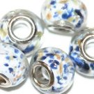 5 EUROPEAN GLASS CHARM BEADS - WHITE WITH BLUE SPOTS