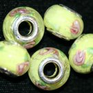 5 EUROPEAN GLASS CHARM BEADS - YELLOW FLOWER