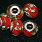 5 EUROPEAN GLASS CHARM BEADS - RED FLOWER