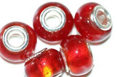 5 EUROPEAN GLASS CHARM BEADS - RED FOIL