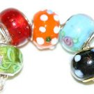 5 EUROPEAN GLASS CHARM BEADS - MULTI-COLORED