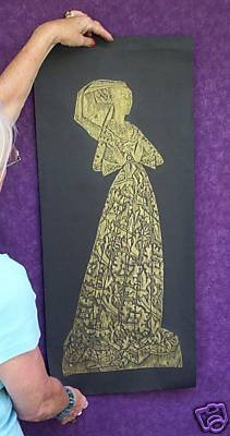 DECORATIVE ARTS BRASS RUBBING MARGARET PEYTON LACE LADY