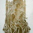 BRASS RUBBING MADONNA & CHILD RELIGIOUS ART WALL DECO