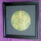 BRASS RUBBING FRAMED CELTIC CIRCLE,Gold & Irish Green