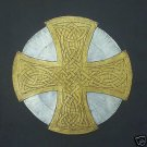 BRASS RUBBING, GOLD & SILVER CELTIC CROSS, WALL ART