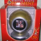 "Silver/Gold DIGITAL PHOTO Ornament w/Stand *1.5"" Screen 8MB 59 Pics* Great Gift!"