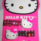 HELLO KITTY Pink Purple Silver Rhinestone 3 Pc. Hair Clips Set Lot BNew & Carded