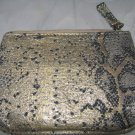 Charlotte Ronson Masquerade Gold Python Snake Print Cosmetic Zipper Pouch/Bag BN