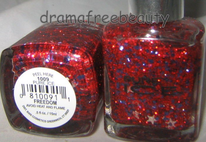 Pure Ice Holiday Nail Polish *FREEDOM* Red/Blue &Silver STARS Multi Glitter BNew