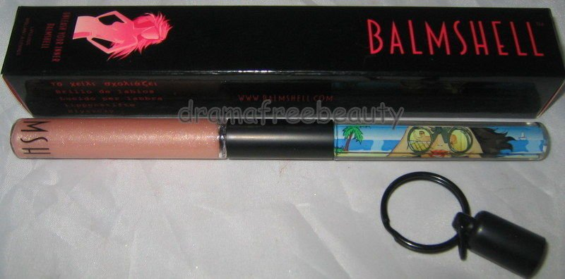 NIB Balmshell Lipgloss in *BEACH PATROL* Sheer Nude Shimmer w/Float Art Keychain