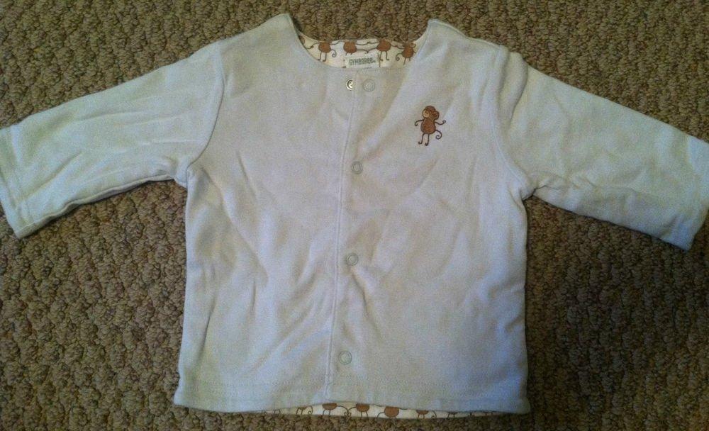 Gymboree Boys/Infants 3-6 Months Long Sleeve Button Up Shirt/Top Monkey