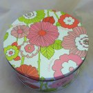 Clinique Round Metal Cosmetics / Makeup Tin Floral Pattern Pink White Green