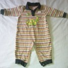Okie Dokie Boys/Toddlers 18 Months Romper One-Piece Green Tan Striped Dinosaur