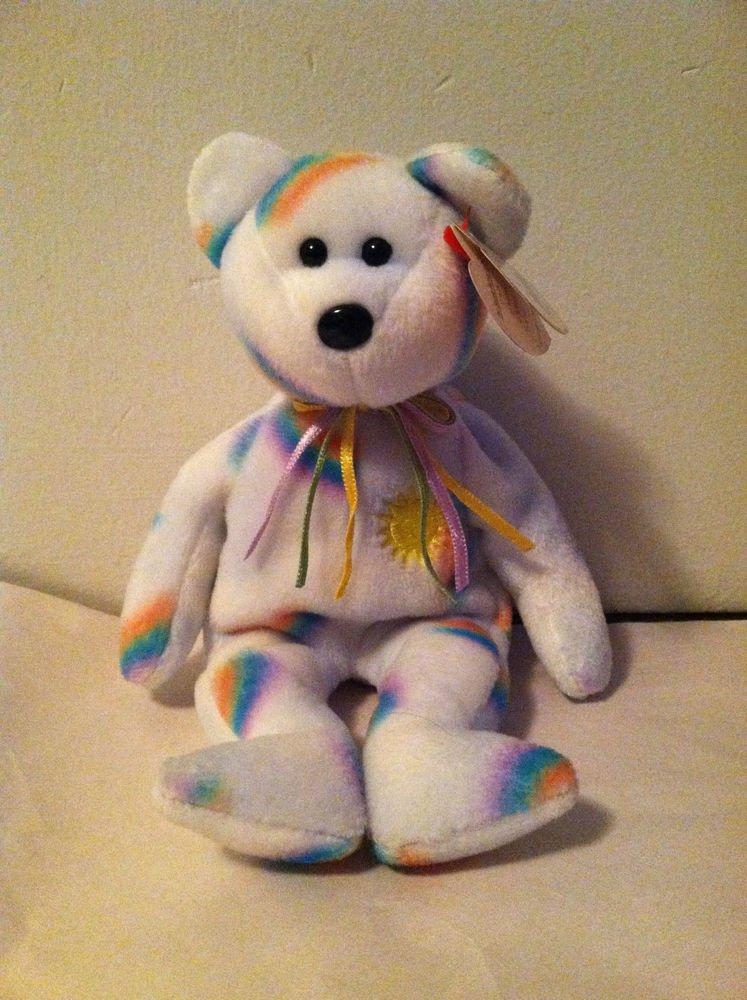 """TY Beanie Baby """" Cheery"""" Bear NWT 2000 Rainbows Sun Light Lavender Color"""