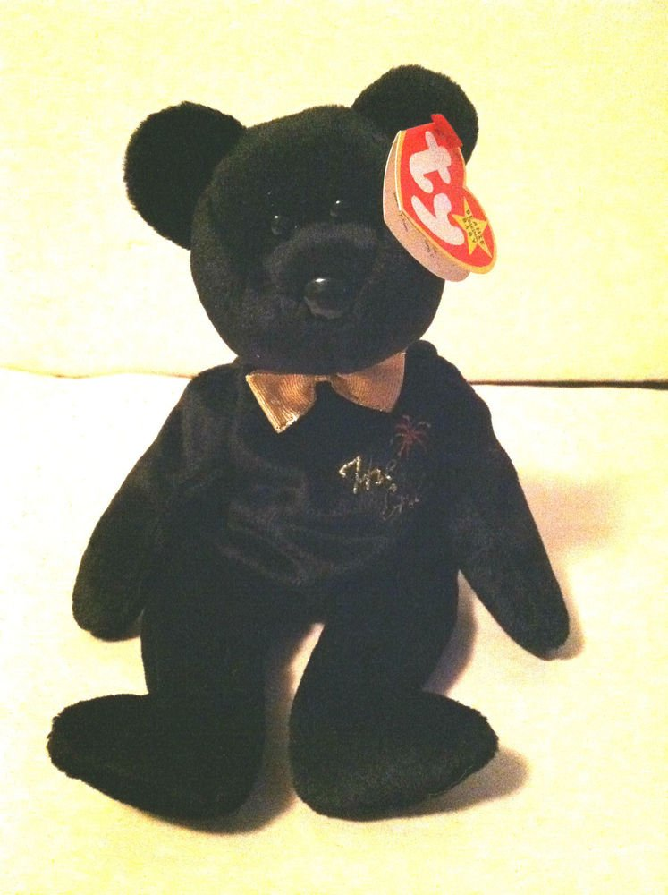 "TY Beanie Baby "" The End"" Bear NWT Black w/ Gold Tie"