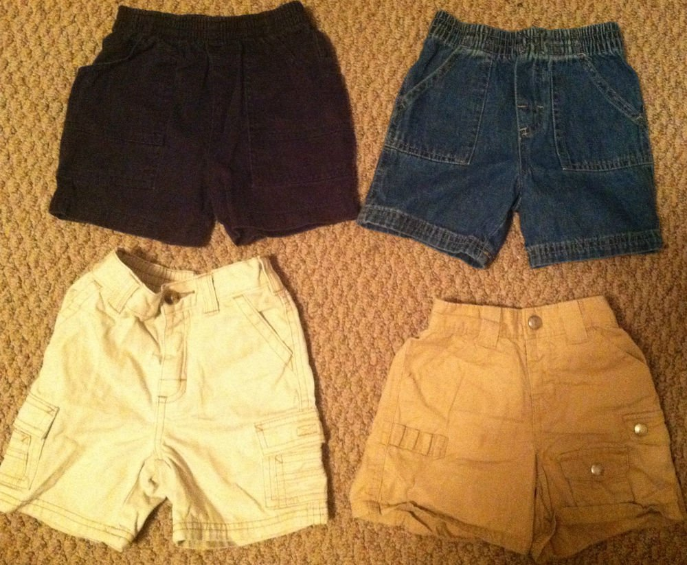 Boys/Toddlers/Infants 4pc Shorts Lot 6-18 months Khaki/Jeans Gymboree/Baby Gap