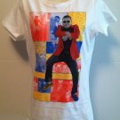 PSY *GANGNAM STYLE* T-Shirt White w/Red Blue Yellow Brand New w/Tags Juniors XL