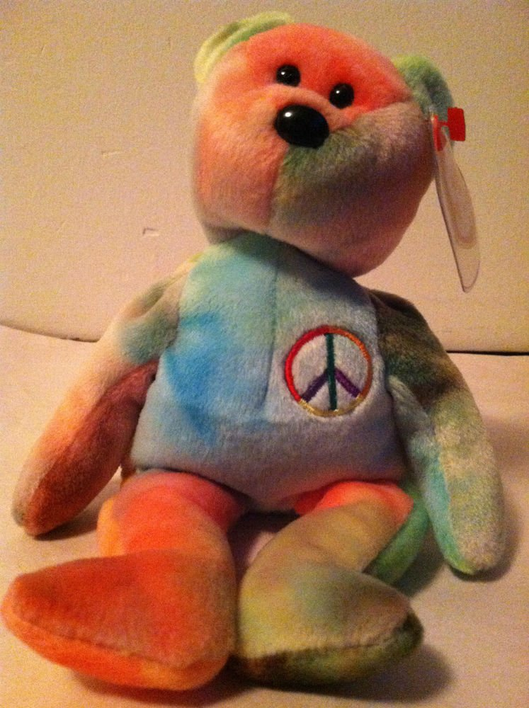 """TY Original Beanie Baby """" PEACE"""" Bear NWT 1991 Tie-Dyed Green/Red/Purple/Yellow"""