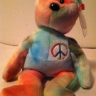 "TY Original Beanie Baby "" PEACE"" Bear NWT 1991 Tie-Dyed Green/Red/Purple/Yellow"