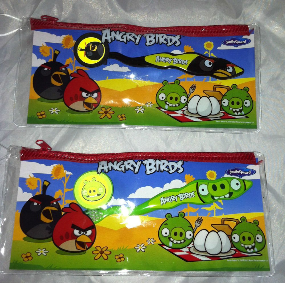 Childrens Angry Birds Dental Travel Kit Bag w/ Toothbrush and Brush Cap 2pc Lot