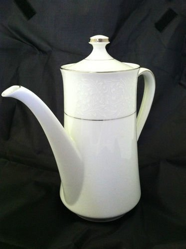 Style House Fine China Made In Japan Coffe Pot w/Lid Platinum Trim White Floral
