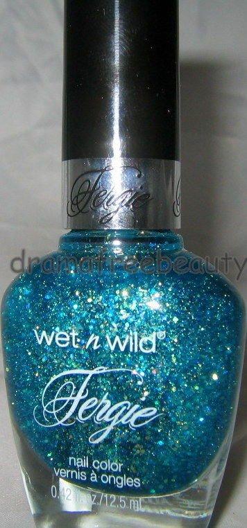 Wet n Wild FERGIE Nail Polish *MERMAID CURVES* Aqua Teal Multi-Color Hex Glitter