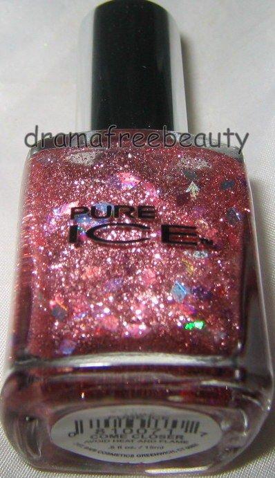 Pure Ice Nail Polish *COME CLOSER* Rose Micro-Glitter w/Pink Holo Diamonds B New