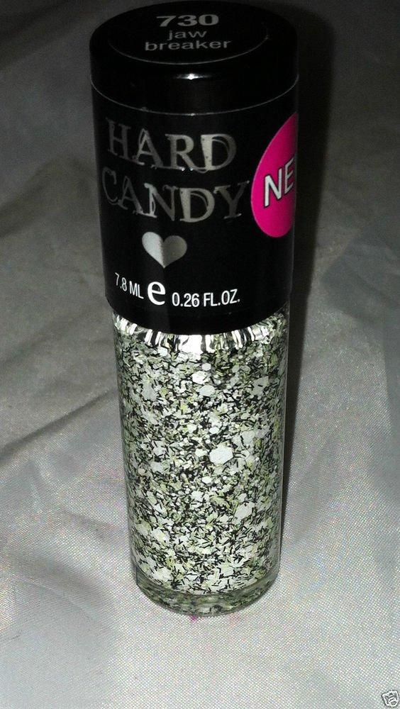Hard Candy Nail Polish 730 * JAW BREAKER * White Confetti Hex w/ Lime/Black New