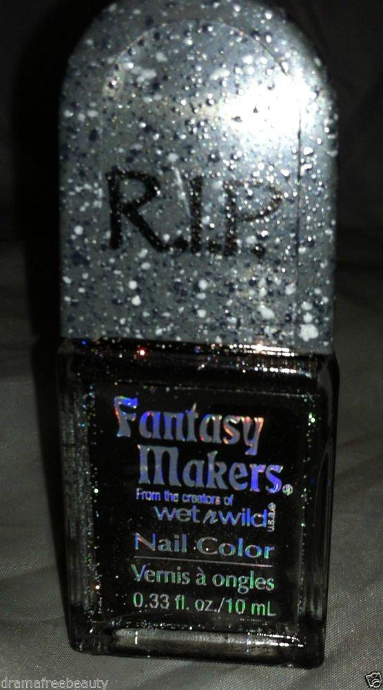 Wet n Wild RIP Fantasy Makers Nail Polish *NAIL IN THE COFFIN* Black Gold Shimmr