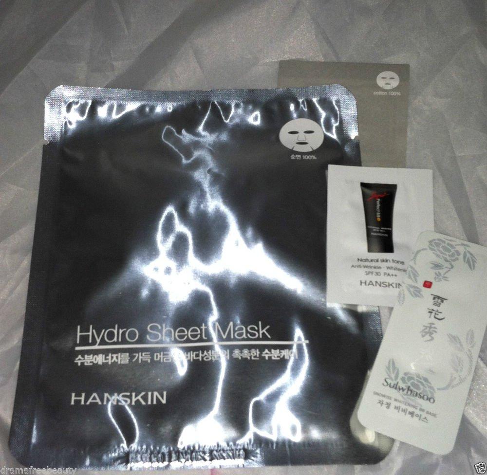 Hanskin/Sulwhasoo 3pc Travel / Sample Hydro Sheet Mask Natural Skin Tone