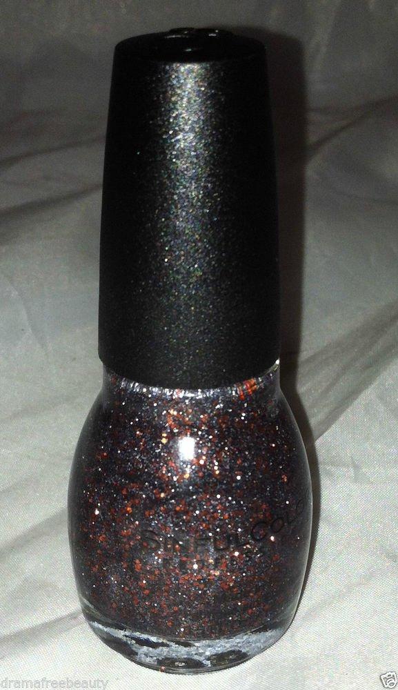 Sinful Colors Nail Polish Color *BLACK MAGIC* Black/Gray w/Orange Hex Glitter BN