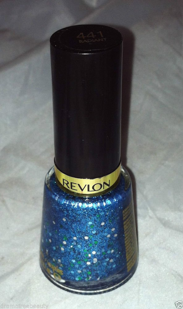Revlon Nail Enamel Polish * 441 RADIANT * Clear Base w/Blue Micro Green Hex New