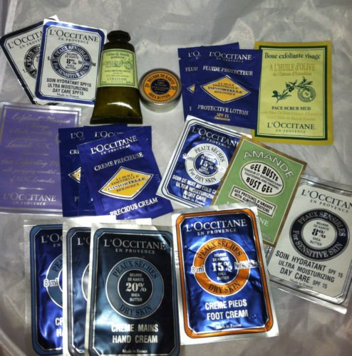 L'Occitane 18pc Mixed Travel/Sample Lot Precious Immortelle Hand Cream Bust Gel