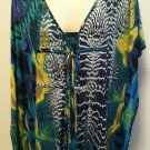 Worthington Womens Small Blue/Green Confusious Batwing Dolman Style  Top NEW