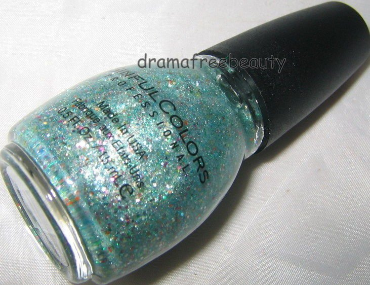 Sinful Colors Limited Ed Nail Polish *IN THE SPOTLIGHT* Teal Multi-Color Glitter
