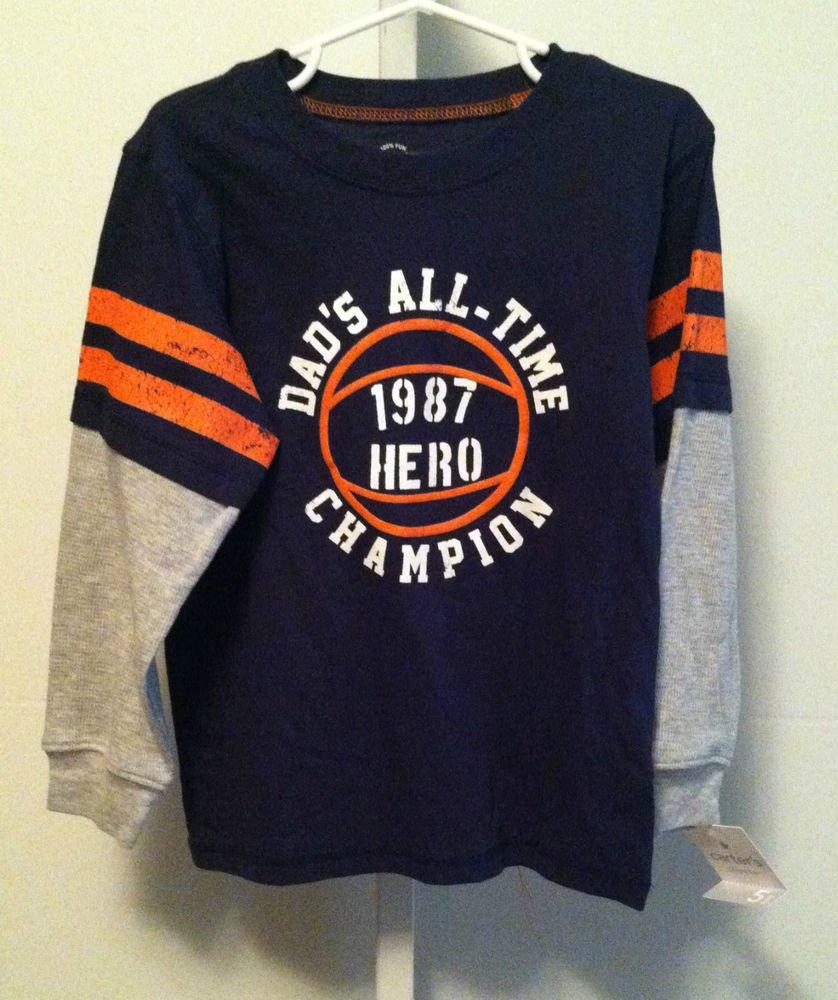 Carter's Playwear Long Sleeve Pullover Shirt *BOYS Size 5*  Blue/Gray/Orange NWT