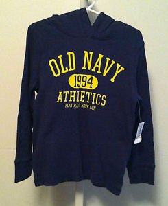 Old Navy Boys/Toddler 5T Blue Long Sleeve  Hooded Shirt BNWT Blue w/ yellow