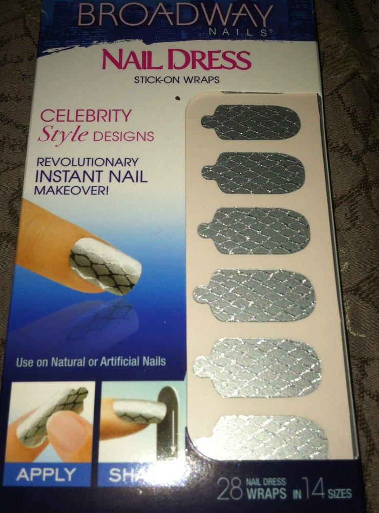 Broadway Nails Nail Dress 28 Stick-On Polish Wraps *SILVER* Fishnet Design BNIB