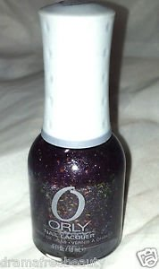 ORLY Nail Polish * FOWL PLAY * Deep Purple Jelly w/ Multi Color Flakies Mico New