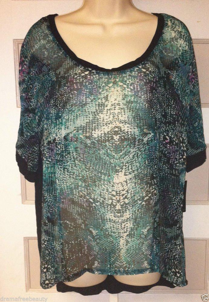 A.N.A. Womens Large * Green Snake Reflection * Short Sleeve Sheer Box Top BNWT