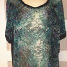 A.N.A. Womens Large * Green Snake Reflection * Short Sleeve Sheer Box Top BNWT