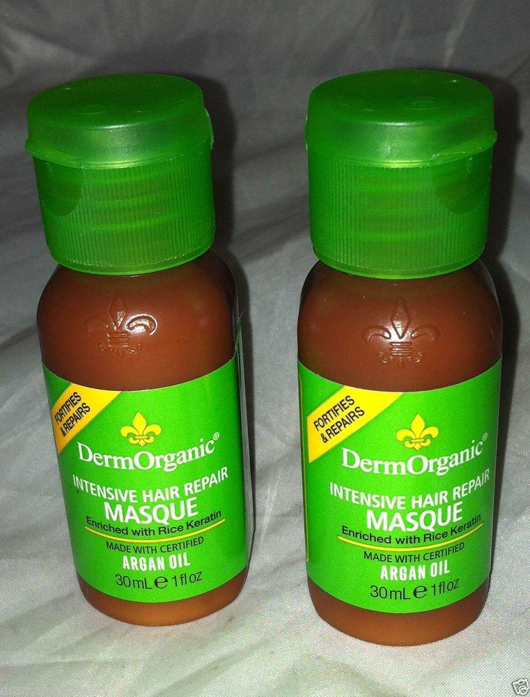 DermOrganic Intensive Hair Repair Masque Rice Keratin/Argan Oil 2pc Travel Lot