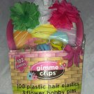 Gimme Clips Plastic Hair Elastics and Flower Bobby Pins Green/White/Hot Pink