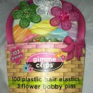 Gimme Clips Plastic Hair Elastics and Flower Bobby Pins Green/White/Pink 103pcs