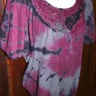 Daytrip Tie Dye Violet/Purple/Grey Boho Hippie Top S Small wEmbellished Neckline